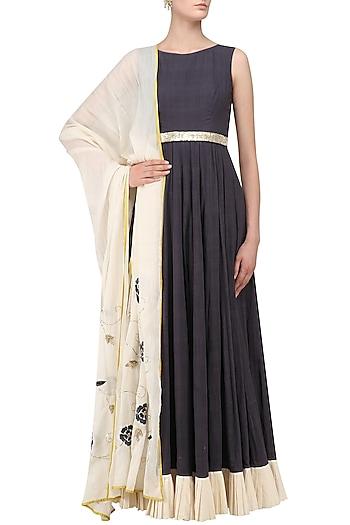 Dark Grey and Ivory Embroidered Anarkali Set by Divya Reddy
