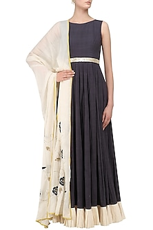 Dark Grey and Ivory Embroidered Anarkali Set by Divya Reddy