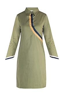 Military green straight fit shirt dress