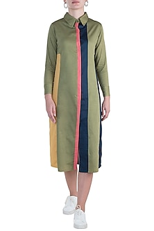 Military green shirt dress by DOOR OF MAAI