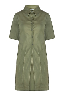 Military green straight fit tunic dress