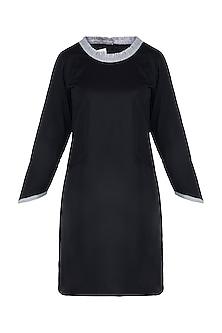 Jet black ruffled mini dress by DOOR OF MAAI