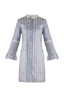 Steel grey ruffled mini dress by DOOR OF MAAI