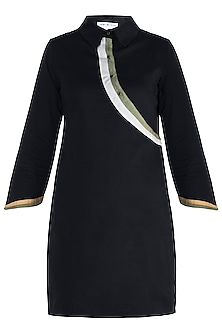 Black straight fit shirt dress