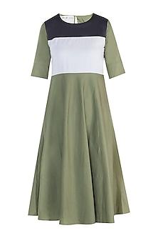 Military green maxi dress by DOOR OF MAAI