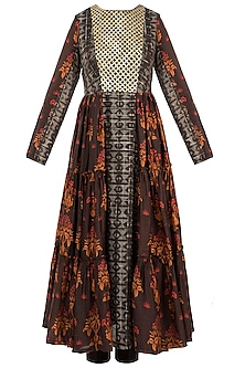 Brown Embroidered Printed Tunic With Pants