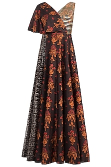 Brown Embroidered Printed Cape Dress