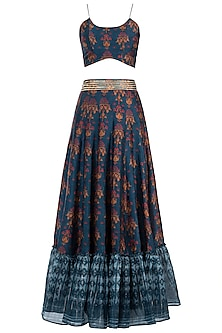 Navy Blue Embroidered Printed Crop Top With Lehenga Skirt