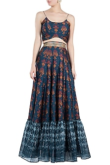 Navy Blue Embroidered Printed Crop Top With Lehenga Skirt by Drishti & Zahabia