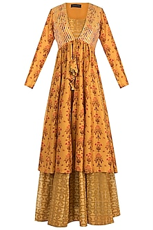 Mustard Embroidered Printed Maxi Dress With Jacket by Drishti & Zahabia