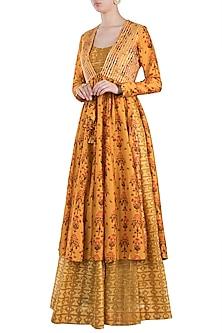 Mustard Embroidered Printed Maxi Dress With Jacket by Drishti & Zahabia