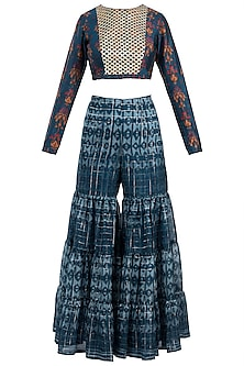 Navy Blue Embroidered Printed Crop Top With Sharara Pants