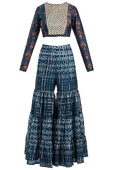 Navy Blue Embroidered Printed Crop Top With Sharara Pants by Drishti & Zahabia