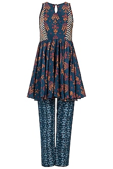 Navy Blue Embroidered Printed Peplum Top With Sharara Pants