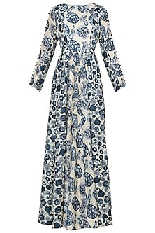 Blue and Off White Printed Maxi Dress
