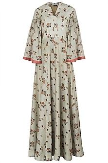 Mint Green and Peach Bell Sleeves Maxi Dress by Drishti & Zahabia