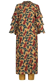 Mustard Printed Kurta with Pants