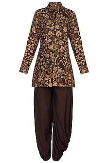 Brown Printed Tunic with One Side Draped Pants