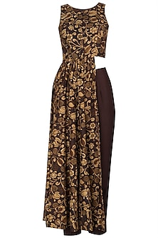 Brown Printed Asymmetrical Tunic with Pleated Pants