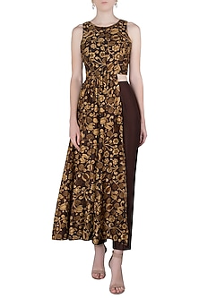 Brown Printed Asymmetrical Tunic with Pleated Pants by Drishti & Zahabia