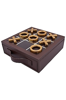 Brown Leather & Aluminium Tic Tac Toe Set Showpiece by Sammsara