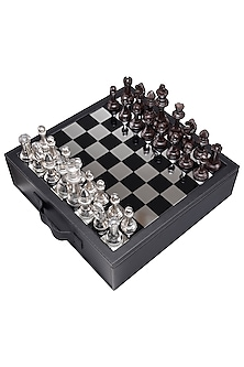 Black Leather & Aluminium Chess Set by Sammsara