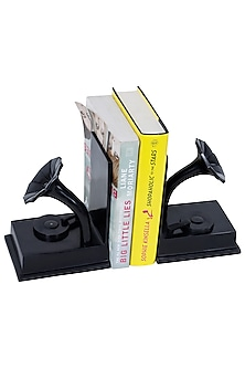 Brown Aluminium Gramophone Shaped Bookends (Set of 2) by Sammsara