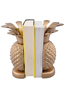 Golden Aluminium Pineapple Bookends (Set of 2) by Sammsara