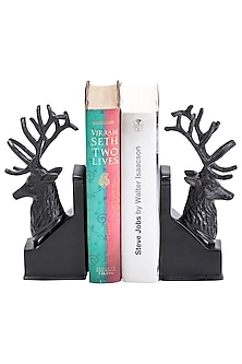 Brown Aluminium Deer Shaped Bookends (Set of 2) by Sammsara