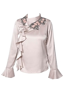 Taupe Ruffled Top by Platinoir