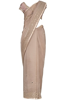 Sand Embroidered Saree Set by Devnaagri