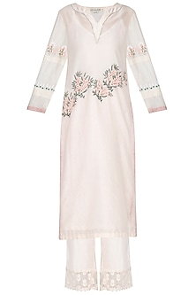 Off White Embroidered & Pintuck Kurta Set by Devnaagri