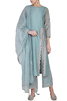 Grey Embroidered & Block Printed Kurta Set by Devnaagri