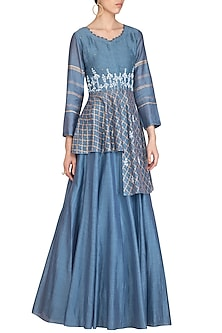 Blue Block Printed & Embroidered Top With Skirt by Devnaagri