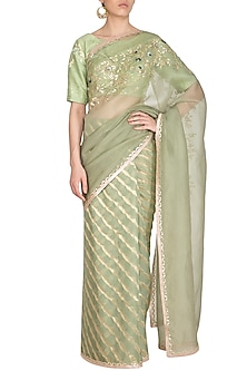 Sage Green Embroidered Leheriya Saree Set by Devnaagri