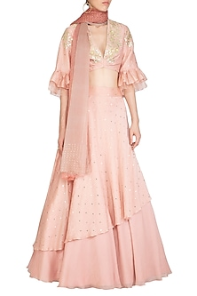 Pink Embroidered Layered Lehenga Set by Devnaagri