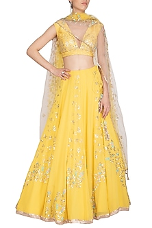 Lemon Yellow Embroidered Lehenga Set by Devnaagri