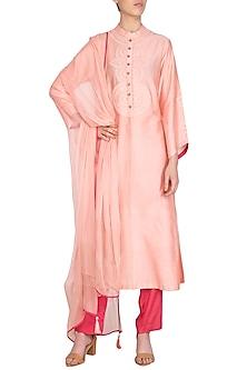 Blush Pink Embroidered & Block Printed Kurta Set by Devnaagri
