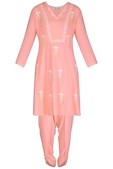 Pink Embroidered & Block Printed Kurta Set by Devnaagri