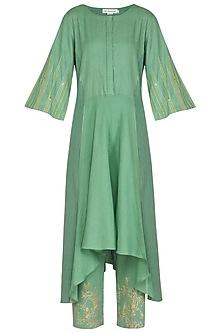 Green Embellished & Block Printed Kurta Set by Devnaagri
