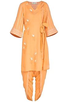 Orange Embroidered Block Printed Kurta Set by Devnaagri
