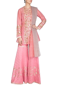 Pink Embroidered Sharara Set by Devnaagri