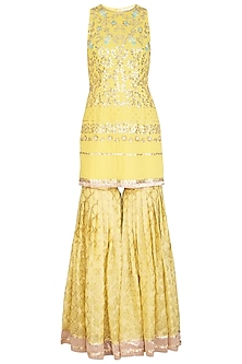 Lemon Yellow Embroidered Sharara Set by Devnaagri
