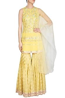 Lemon Yellow Embroidered Sharara Set by Devnaagri