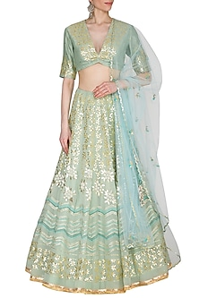 Sky Blue Embroidered Lehenga Set by Devnaagri