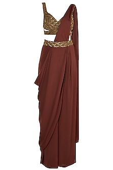 Rust Embroidered Pant Saree by Diya Rajvvir