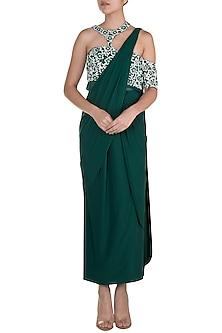 Dark Green Embroidered Pre-Stitched Saree Set by Diya Rajvvir