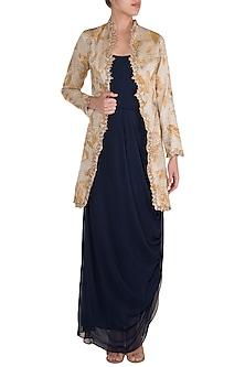 Mustard Embroidered & Painted Jacket With Dark Blue Cowl Dress by Diya Rajvvir