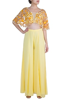 Yellow Sharara Pants With Embroidered Blouse by Diya Rajvvir
