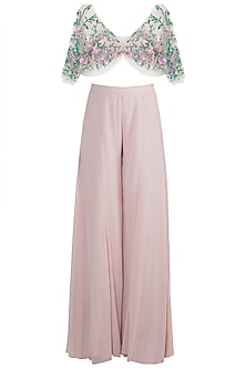 Old Rose Sharara Pants With Embroidered Blouse by Diya Rajvvir